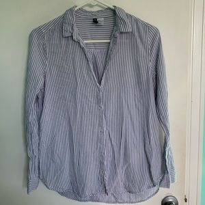 Divided Striped Button Down Long Sleeve Shirt